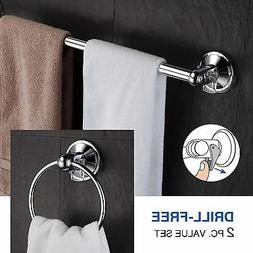 """Hotelspa 2 Pc Insta Mount Bathroom Set 18"""" Towel Bar and Tow"""