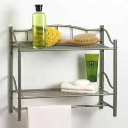 2 Shelf Wall Organizer with Towel Bar Pearl Nickel Finish fo