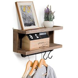 MyGift 2-Tier Rustic Wall Mounted Wood Floating Shelf with H