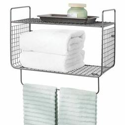mDesign 2 Tier Storage Organizer Bath Shelf with Towel Bar,