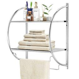 2-Tier Wall Mount Shower Organizer Holder Storage Rack Towel