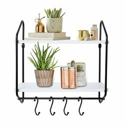 2 Tier Wall Shelf White Floating Shelves Bathroom With Towel