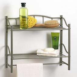 Creative Bath 20063-NI 2 Shelf Wall Organizer with Towel Bar