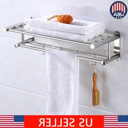 Wall Mounted Towel Rack Holder Hook Hanger Bar Shelf Rail St