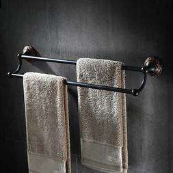 "24"" Towel Rack Antique Black Wall Mounted Bath Double Towel"