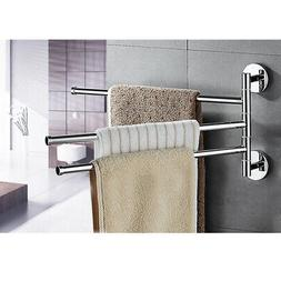 3 Rack Towel Bar Rotating Bathroom Kitchen Wall Mount Towel
