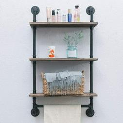 3 Tiered Rustic Wood Bathroom Shelves Wall Mounted Shelf Tow