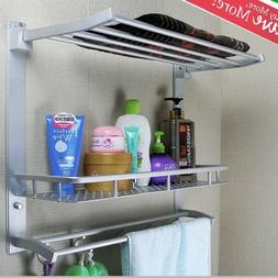 3 Tiers Wall Mounted Towel Rack Bar Rail Holder Storage Shel