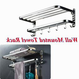 304 Stainless Steel Foldable Towel Rack Bar Wall Mounted Hol