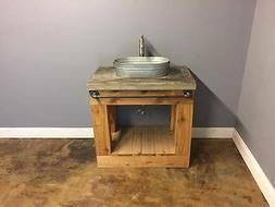 36 inch concrete vanity top with cedar base and industrial t