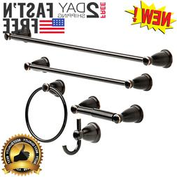 5 Piece Oil Rubbed Bronze Bathroom Towel Bar Ring Rack Holde