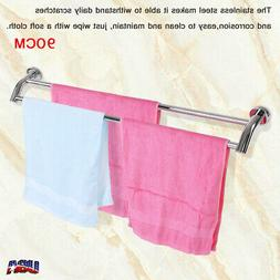 90CM Wall Mounted Towel Bar Rack Rail Stainless Steel Storag