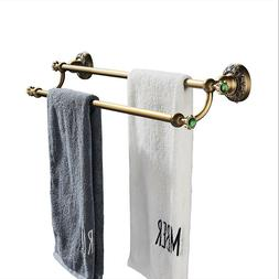 Antique Brass Wall Mounted Bathroom Double Towel Bars Towel
