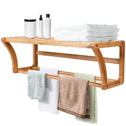 Bamboo Wall Shelf Towel Bar Wall-Mounted Storage Display Rac