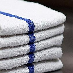 Bar Mop Cleaning Towels  – Cotton Terry , White with Blue