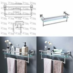 bathroom glass shelf towel rack