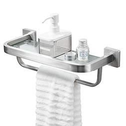 BESy Bathroom Lavatory Glass Shelf with Towel Bar and Rail,