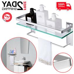 Bathroom Shelf With Towel Rack Bar Wall Mounted Glass Storag