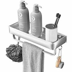 Bathroom Shelves with Towel Bar,Wall Mounted Shower Storage