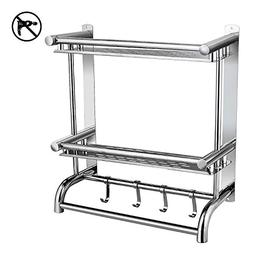 BATHWA Bathroom Shelves with Removable Hooks,Stainless Steel