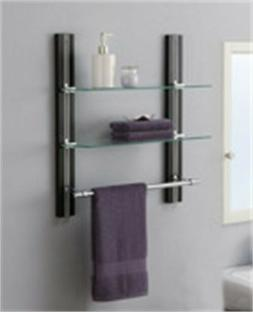 Bathroom Organizer and Storage Glass Wall Shelves w Small Ch