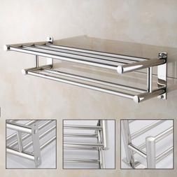 Bathroom Towel Rail Holder Rack Double Wall Mounted Shelf Ba