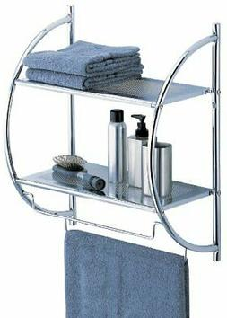 OIA Bathroom Two Shelf And Towel Bar Wall Mounting Organizer