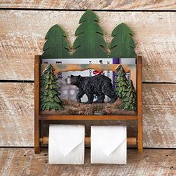 Black Bear Forest Magazine and Toilet Paper Holder - Rustic
