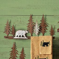 Black Forest Decor Bear Metal Art Towel Bar