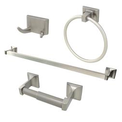 Brushed Nickel 4 Piece Bathroom Hardware Accessories Set wit