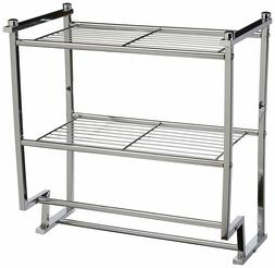 Chrome 2 Tier Wall Mounting Bathroom Rack with Towel Bars by