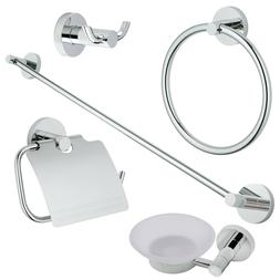 Chrome Modern 5 Pc. Bath Accessories Towel Bar Ring Toilet B