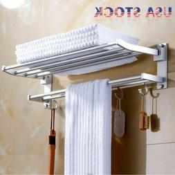 Double Aluminum Wall Bathroom Towel Rail Mounted Holder Shel