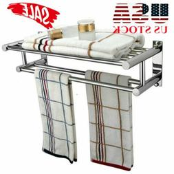 Double Chrome Wall Mounted Bathroom Towel Rail Holder Storag