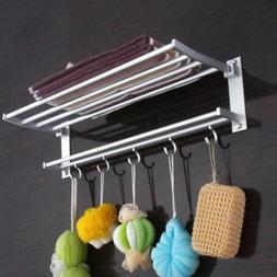Double Towel Rail Rack Bar Holder Wall Mounted Bathroom Shel