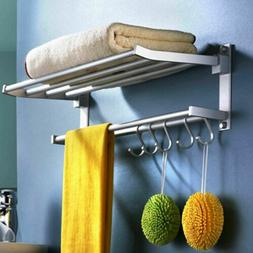 Double Towel Rail Rack Holder Wall Mounted Bathroom Kitchen