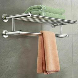 Foldable 304 Stainless Steel Towel Rack Bar Wall Mounted Hol