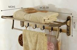 Foldable  Antique Brass Towel Rack Bar Wall Mounted Holder B