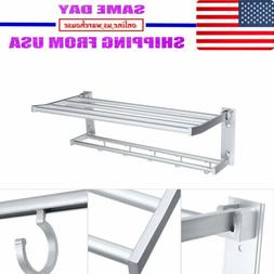 Foldable Double Chrome Towel Rack Bar Wall Mounted Holder Ba