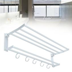Samger Foldable Double Towel Rack Bar Wall Mounted Holder Ba