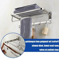 Foldable Stainless Steel Towel Rack Bar Wall Mounted Holder