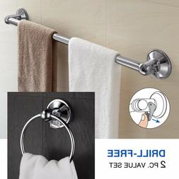 Hotelspa Value Set 24 inch Towel Bar and Towel Ring 2 Pc Ins