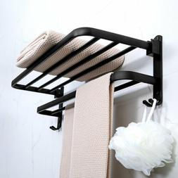 Household Bathroom Toilet Wall Mounted Folding Towel Black S