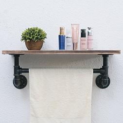 "Industrial Pipe Shelf,Rustic Wall Shelf with Towel Bar,24"" T"