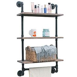 "Industrial Pipe Shelf Rustic Wall Shelf with Towel Bar 24"" T"