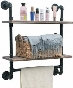 "Industrial Pipe Shelf,Rustic Wall Shelf with Towel Bar,24"" 2"