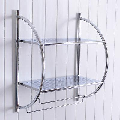 Costway 2 Tier Mount Shower Organizer Bathroom Storage Rack Towel Bar