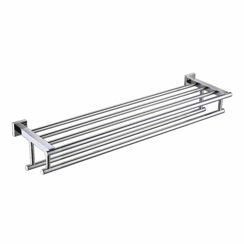 KES 30-Inch Large Towel Rack with Shelf Stainless Steel Doub