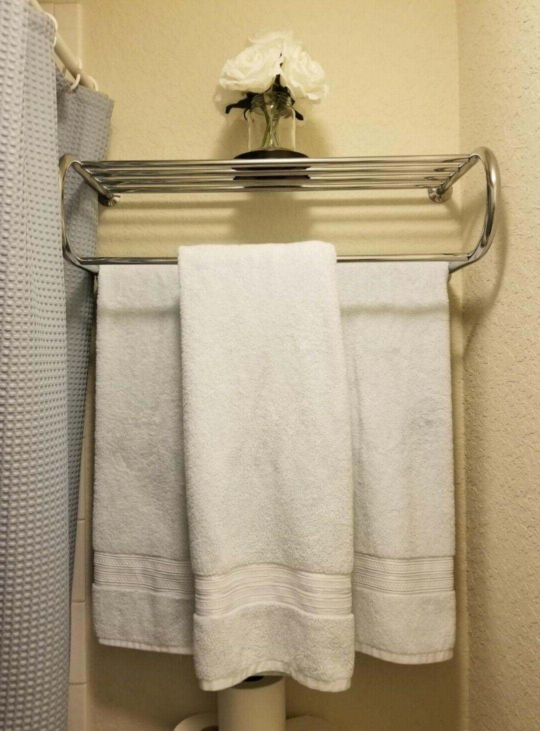 Bathroom Bath Rack with Wall Mount Shelf Finish