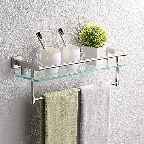 KES SUS304 Stainless Bathroom Shelf Wall Mount with Towel Bar and Rail Finish, A2225DG-2